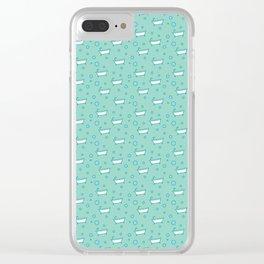 Rub a dub dub, bubbles and a bathtub (aqua) Clear iPhone Case
