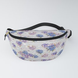 Hydrangeas and French Script with birds on gray background Fanny Pack