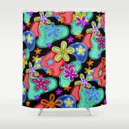 Colorful Retro Flowers Fractalius Pattern Shower Curtain