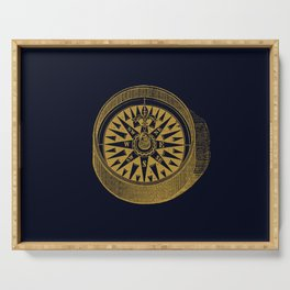 The golden compass I- maritime print with gold ornament Serving Tray