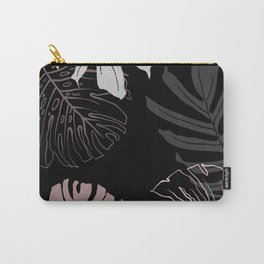monstera leaves on black drawing Carry-All Pouch