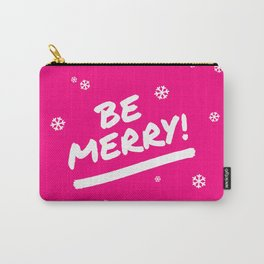 Bright Pink Be Merry Christmas Snowflakes Carry-All Pouch