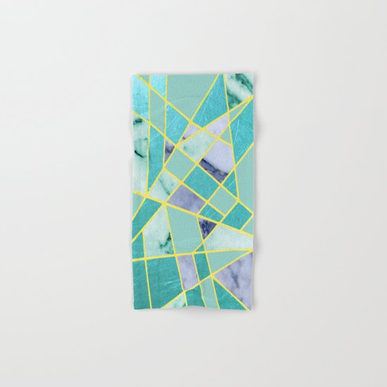 Abstract #439 in Green and Gold Hand & Bath Towel