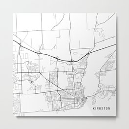 Kingston Map, Canada - Black and White Metal Print