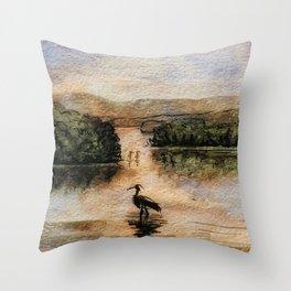 A feeling of peace.  Original Watercolor Landscape. Throw Pillow