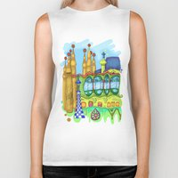 barcelona Biker Tanks featuring Barcelona by Aleksandra Jevtovic