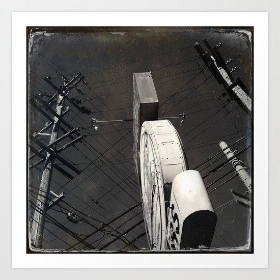 The Wizz take 2, Black and White San Francisco Art Print
