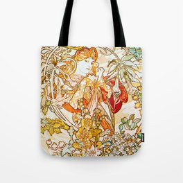 Alphonse Mucha - Woman with Daisy Tote Bag
