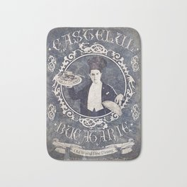 "Chef Dracula's Restaurant: ""Every BITE Guaranteed to ENTHRALL"" (Old Metal Sign) Bath Mat"