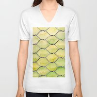 the wire V-neck T-shirts featuring Chicken Wire by Dawn Patel Art
