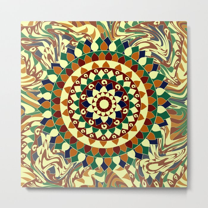 Mandala in brown and blue Metal Print