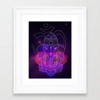 ganesh Framed Art Prints featuring ganesh by Sara Bink