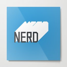 Retro Nerd Blue Metal Print