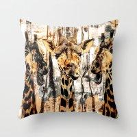 giraffes Throw Pillows featuring Giraffes by RIZA PEKER