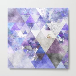 Purple and silver glitter triangle pattern- Abstract Watercolor illustration Metal Print