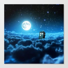 Tardis Cloud And Moon Canvas Print