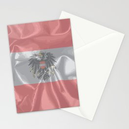 Silk Austrian Flag and Coat of Arms Stationery Cards