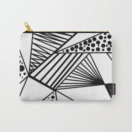 Modern abstract black white geometric stripes polka dots Carry-All Pouch