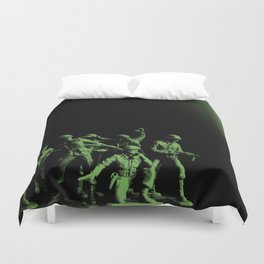 Plastic Army Man Battalion Black and Green Duvet Cover