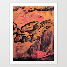 Lion Cave Art Color Art Print