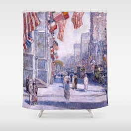 Childe Hassam - Early Morning on the Avenue in May Shower Curtain