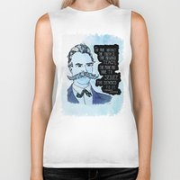 nietzsche Biker Tanks featuring Nietzsche and the Abstract Truth - Watercolor Version by Alexandra Ensign