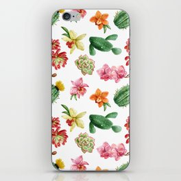 Watercolor Cactus on white background iPhone Skin