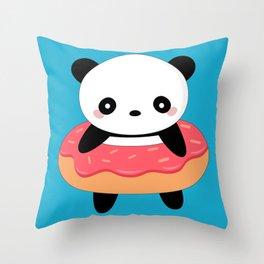 Kawaii Donut Panda Throw Pillow