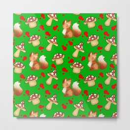 Cute foxes, wild forest mushrooms and red retro dots green nature pattern design. Fall season. Metal Print