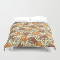 pineapples Duvet Covers featuring pineapples by Julia