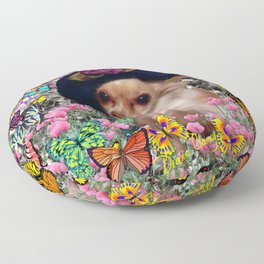 Chi Chi in Yellow, Orange, Red Rainbow Butterflies, Chihuahua Puppy Dog Floor Pillow