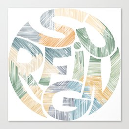 Surfing Typography Art Canvas Print
