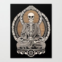 Starving Buddha - Wood Grain Canvas Print