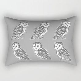 Grey and White Barn Owls Pattern Rectangular Pillow