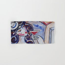 Portrait of a burlesque girl with cocktail painting by Ksavera Hand & Bath Towel