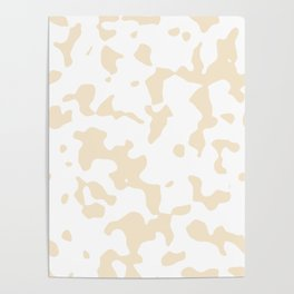 Large Spots - White and Champagne Orange Poster