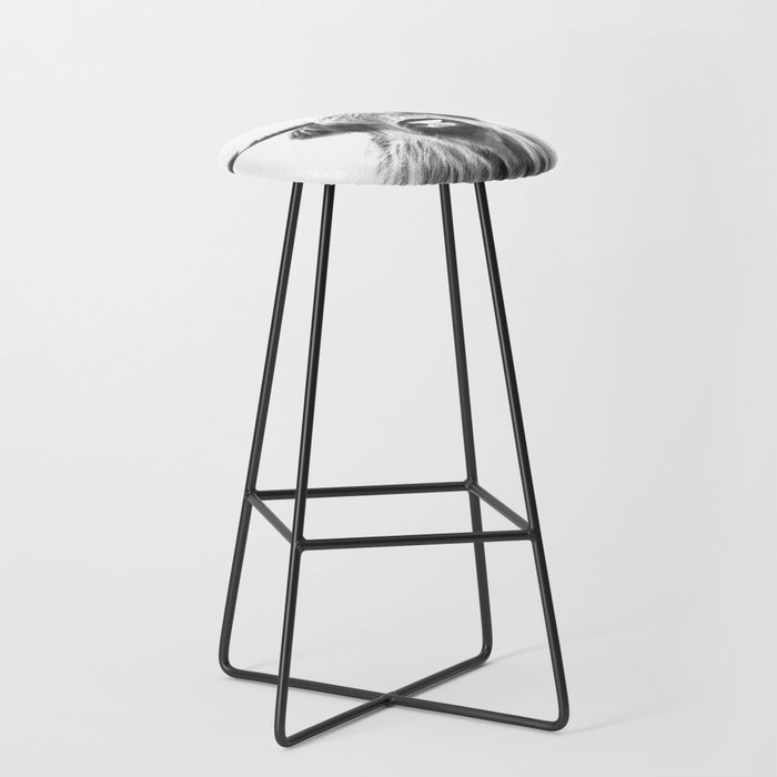 Black and White Highland Cow Portrait Bar Stool