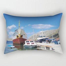 Old Battered Cargo Ship Rectangular Pillow