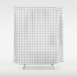 White Grid Black Line Shower Curtain