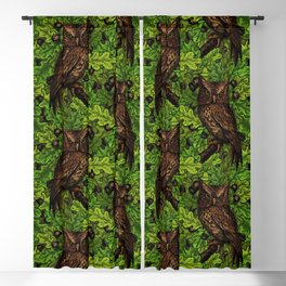 Owls in the oak tree, green and brown Blackout Curtain