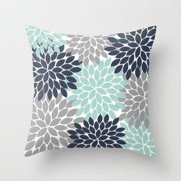 Flower Burst Navy Aqua Gray Flower Petals Design Throw Pillow