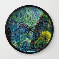 peru Wall Clocks featuring Ceti Peru by Bunny Clarke