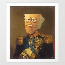General Spongebob Portrait | Fan Art Painting Art Print