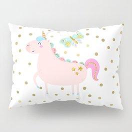 Pink & Gold Glitter Unicorn Pillow Sham