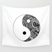 yin yang Wall Tapestries featuring Yin Yang by Jackie Papers