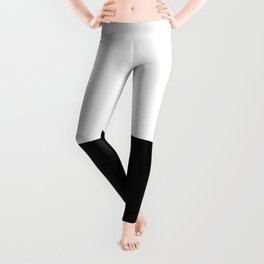 Abstract Black and White Horizon Color Block Leggings