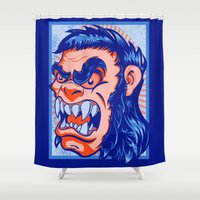 bigfoot Shower Curtains featuring The Bigfoot Gorilla by Joe Baron
