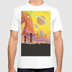 Rick and Morty - Silhouette 2X-LARGE White Mens Fitted Tee