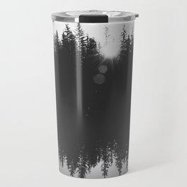 Wooded Lake Reflection Black and White Travel Mug