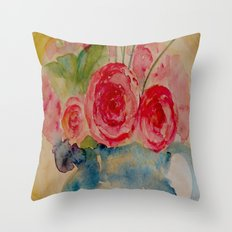 Flowers in a blue vase Throw Pillow